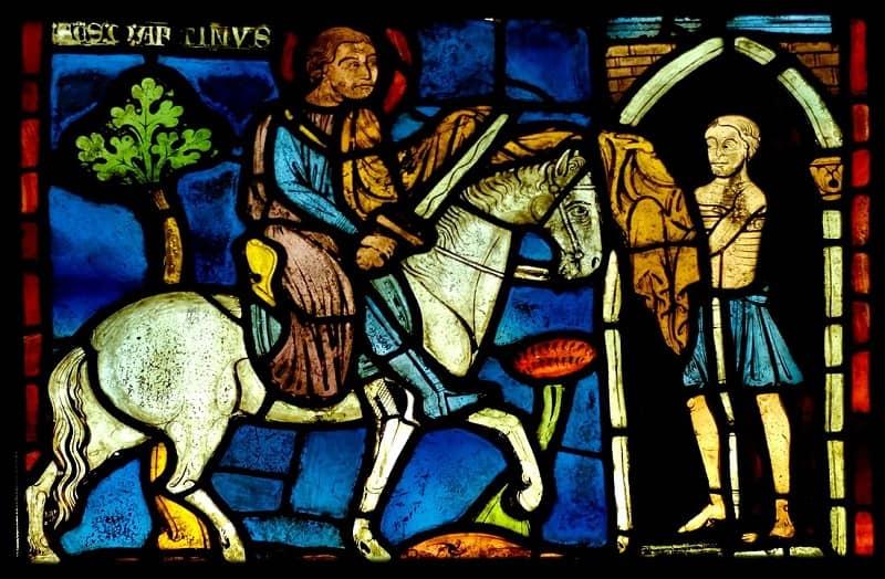 Vitrall amb imatge de Sant Martí